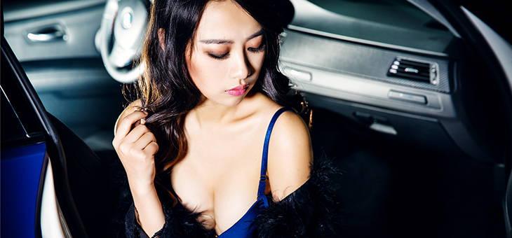 """优韵美人杨莹甜蜜温存""""蓝""""装宝马M3"""